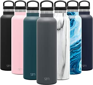 Simple Modern 24oz Ascent Water Bottle - Hydro Vacuum Insulated Tumbler Flask w/Handle Lid - Gray Double Wall Stainless Steel Reusable - Leakproof: -Graphite