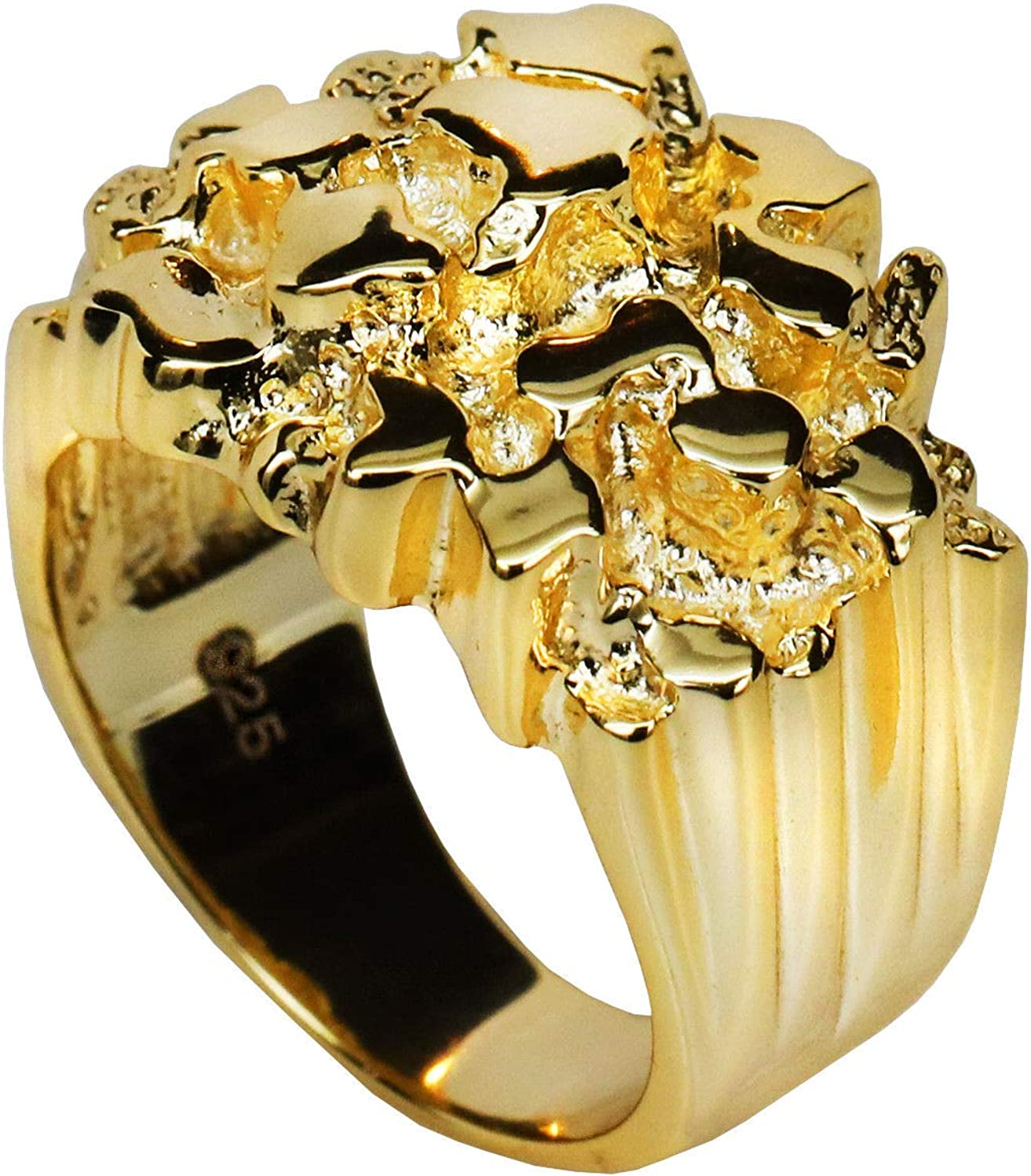 Harlembling Solid 925 Sterling Silver Men's Silver Ring - Gold Nugget Ring - Pinky or Ring Finger - Sizes 7-13