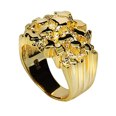 5486a8bef4544 Harlembling Solid 925 Sterling Silver Men's Silver Ring - Gold Nugget Ring  - Pinky or Ring Finger - Sizes 7-13