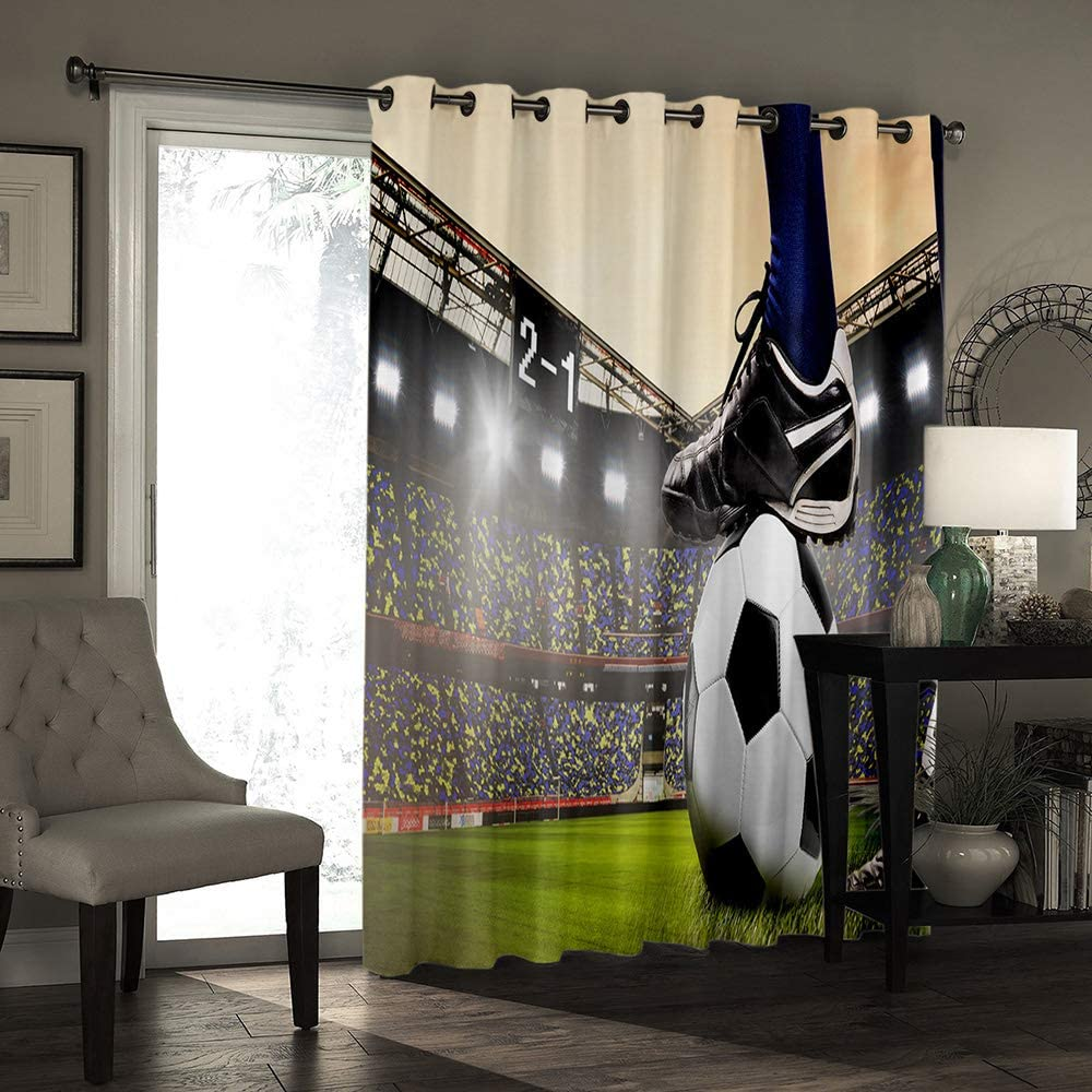 Gymnasium Soccer Curtains Football Design 3D Blackout Window Curtains for Living Room Bedroom Childrens Room Kitchen Boys Room Curtains Wall Background Decorations,blackout,135Wx115H(cm)
