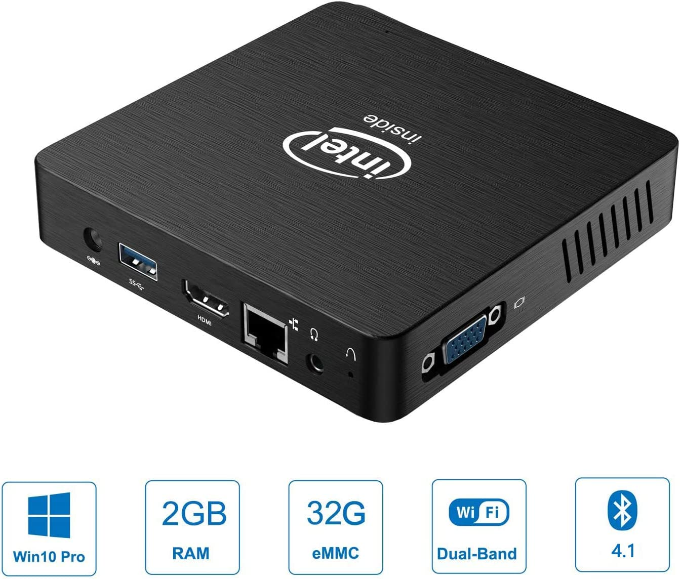 Z83-W Mini PC Intel Z8350 Fanless Desktop Computer 2GB RAM/ 32GB, HDMI&VGA Port for Dual Display, 1000M LAN, Auto Power On, Windows 10 Pro Mini Computer