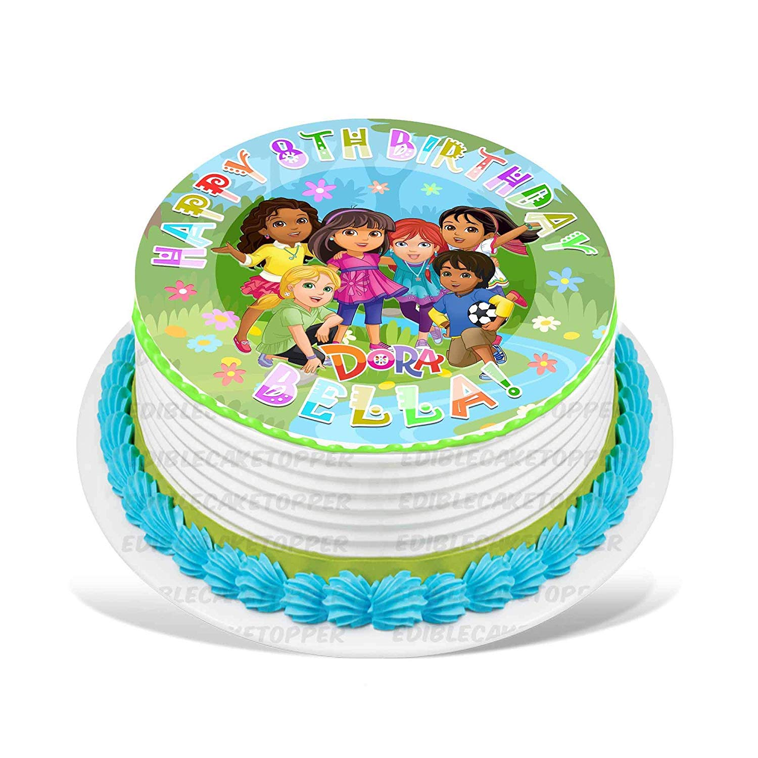 Dora And Friends Edible Cake Topper Personalized Birthday 10 Round