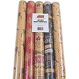 JAM Paper Kraft Wrapping Paper Rolls - 125 sq. ft. - Kraft Christmas Set - 5 Rolls/Pack