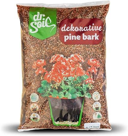 Dr.Soil Corteza de Pino mediterránea granularidad Natural de 8 a 15 mm para acolchar Las Plantas en macetas o plantadores, para arreglos Florales y Decoraciones en una Bolsa de 5 l: Amazon.es: