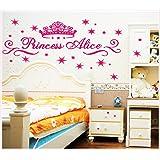 ufengke® Couronnes Roses de Princesse Alice Stickers Muraux, la Chambre des Enfants Pépinière Autocollants Amovibles