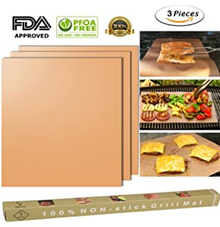 ss shovan Copper Grill Mat Set of 3,100% Non-stick Gold BBQ Barbecue Baking