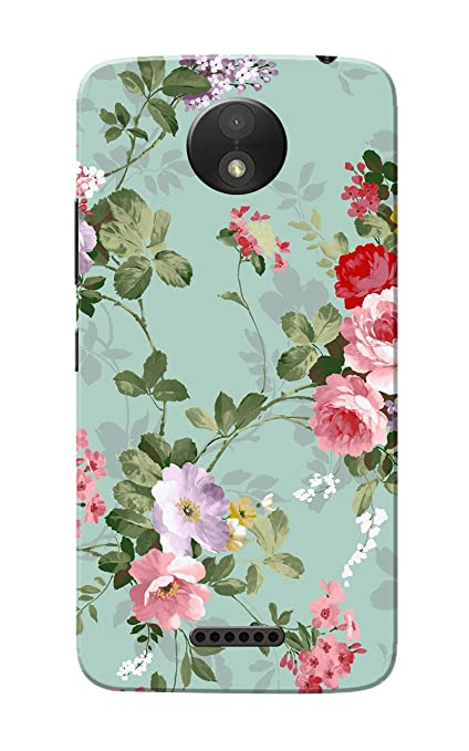 huge selection of bbbce b73c5 Caseria Plastic Floral Slim Fit Hard Back Cover for Motorola Moto C Plus  (Multicolour)