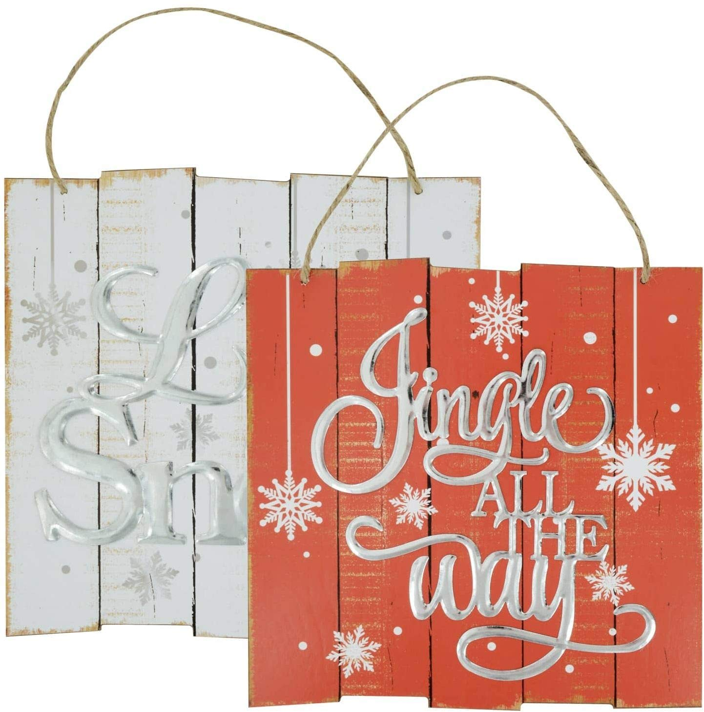 Christmas House Plank Style Sayings Signs - Set of 2