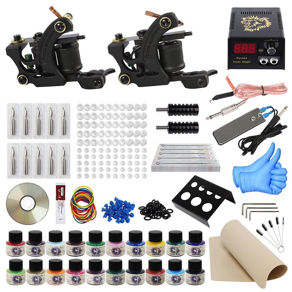 ITATOO Complete Tattoo Kit for Beginners Tattoo Power Supply Kit 20 Tattoo Inks 50 Tattoo Needles 2 Pro Tattoo Machines Kit Tattoo Supplies TK1000001
