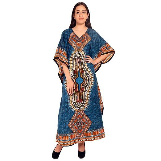 de2ea22953 RADANYA Women Beach Caftan Kaftan Lounge Wear Hippy Boho Maxi Kimono Sleeve  Long Dress - Blue