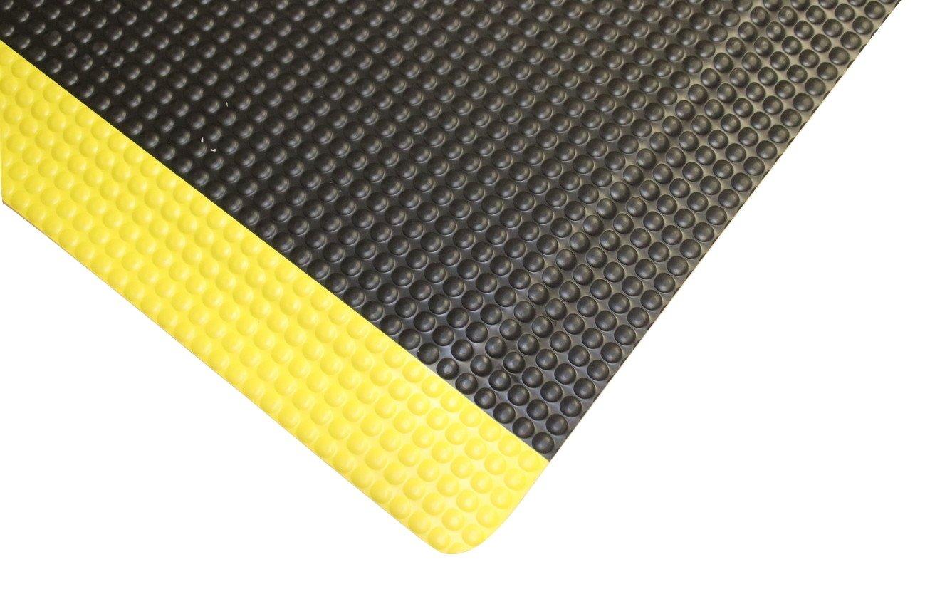 Rhino Mats RFLX36BYRNSX14 Reflex Anti-fatigue Rhino No-Slip Mat, Vinyl, 3' x 14' x 5/8'' Thickness, Black with Yellow Borders