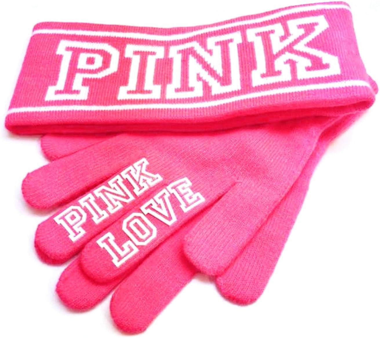 New  Victorias Secret Pink Knit Headband   Gloves Set - Neon Pink NWT