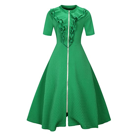 NEW Elegant Tunic Vestido Vintage 50s Rockabilly Solid Swing Summer female Dresses L-6XL Women