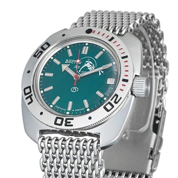 Amazon.com: Vostok Amphibian Scuba Dude Automatic Mens Wristwatch Self-Winding Military Diver Amphibia Ministry Case Wrist Watch #710059 (MESH): Watches