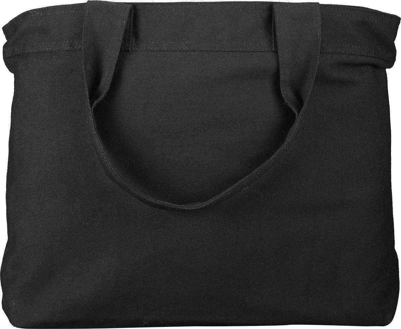 zuzifyキャンバスファスナー付きトートバッグ。dx0787 B073W59JWF ブラック/ブラック One Size