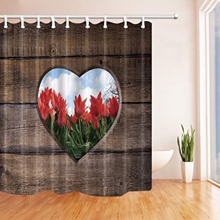 Nyngei Rustic Shower Curtains For Bathroom Farm Wood Heart Style Pattern With Red Flowers Polyester
