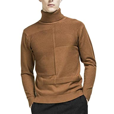 Vmanner Mens Ribbed Knit Turtleneck Sweater Long Sleeve Slim Fit