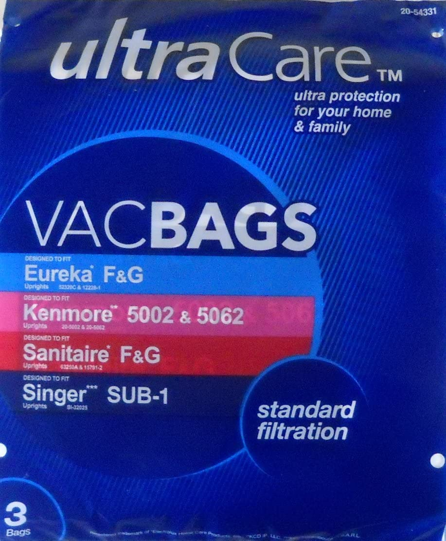 UltraCare UC27715-6 Vacuum Bags for Eureka type F & G; Kenmore type 5002 & 5062; Sanitaire type F & G; Singer type SUB-1 Upright - 3 pk