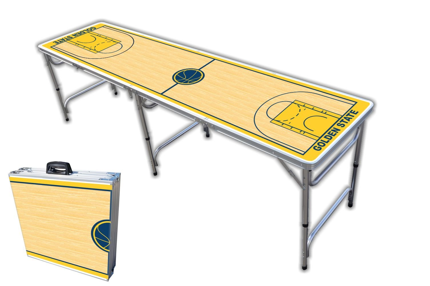 8-Foot Professional Beer Pong Table - Golden State Basketball Court Graphic by PartyPongTables.com