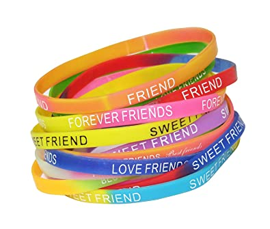 Tickles Silicone Friendship Band For Friendship Day Best Friend Girl Boy Friend Design 3 Set Of 12 Amazon In Jewellery