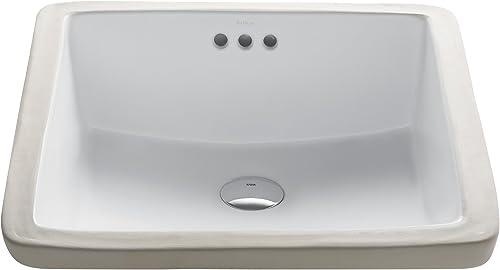 Kraus KCU-231 Elavo Bathroom Undermount Sink, 17 Inch, White