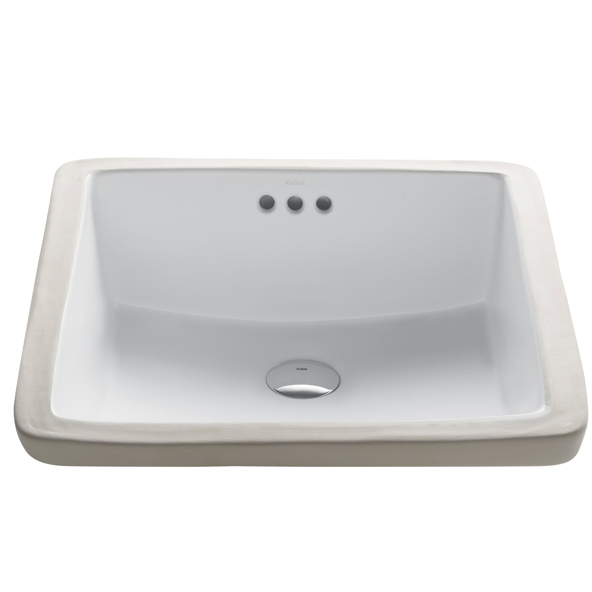 Kraus KCU-231 Modern Elavo Ceramic Square Undermount Bathroom Sink with Overflow, White