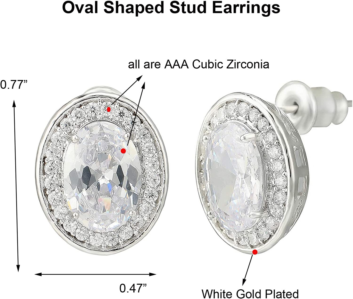 meyome Cubic Zirconia Oval Shape Pendant//Stud Earrings for Women in White Gold Plated