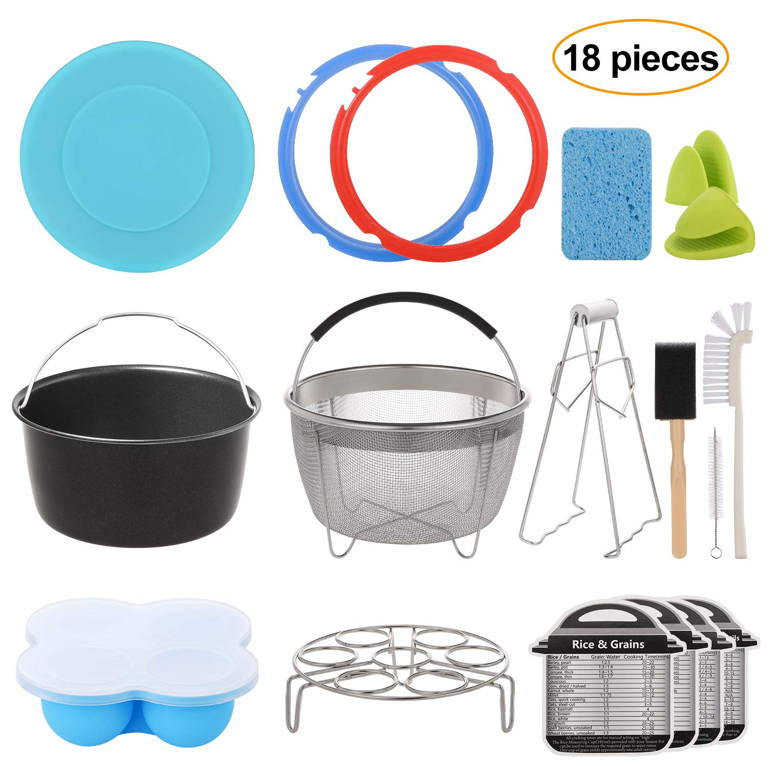 Aozita 18-Piece Mini 3 Quart Accessories for Instant Pot Accessories 3 Qt Only, Steamer Basket, Egg Steam Rack, Egg Bites Mold, Silicone Lid, Cheat Sheets, Mini Mitts, Dish Clip, Cleaning Set by Aozita