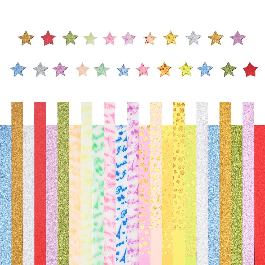 PH PandaHall 608 Sheets 3 Style 23-Color Lucky Star Origami Paper Glitter Powder Luminous Star Paper For DIY Folding Paper Arts Crafts Projects