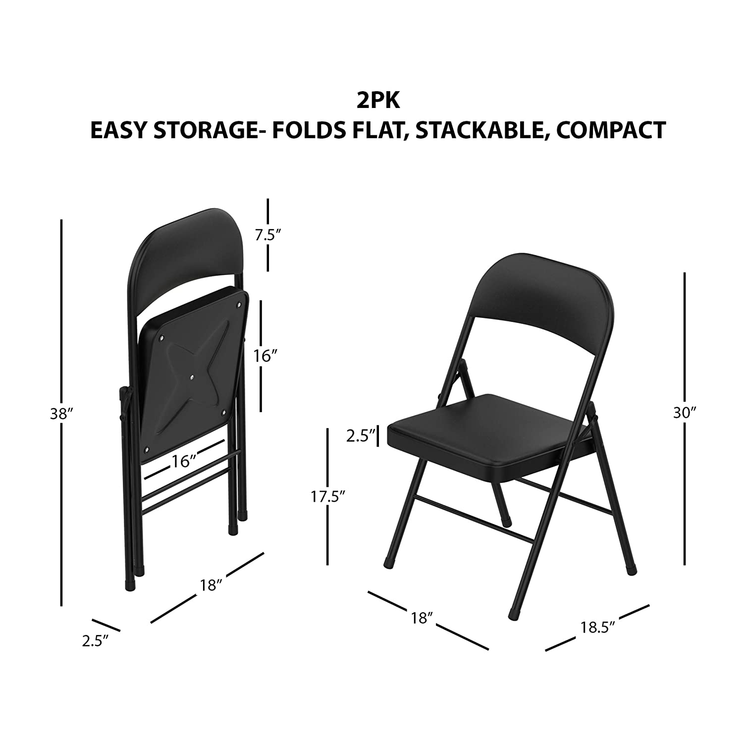 Lavish Home A022285 Folding Chairs – Foldable Steel Seat with Double Brace and Upholstered Vinyl Cushion for Indoor or Outdoor Use (Black, 2 Pc),