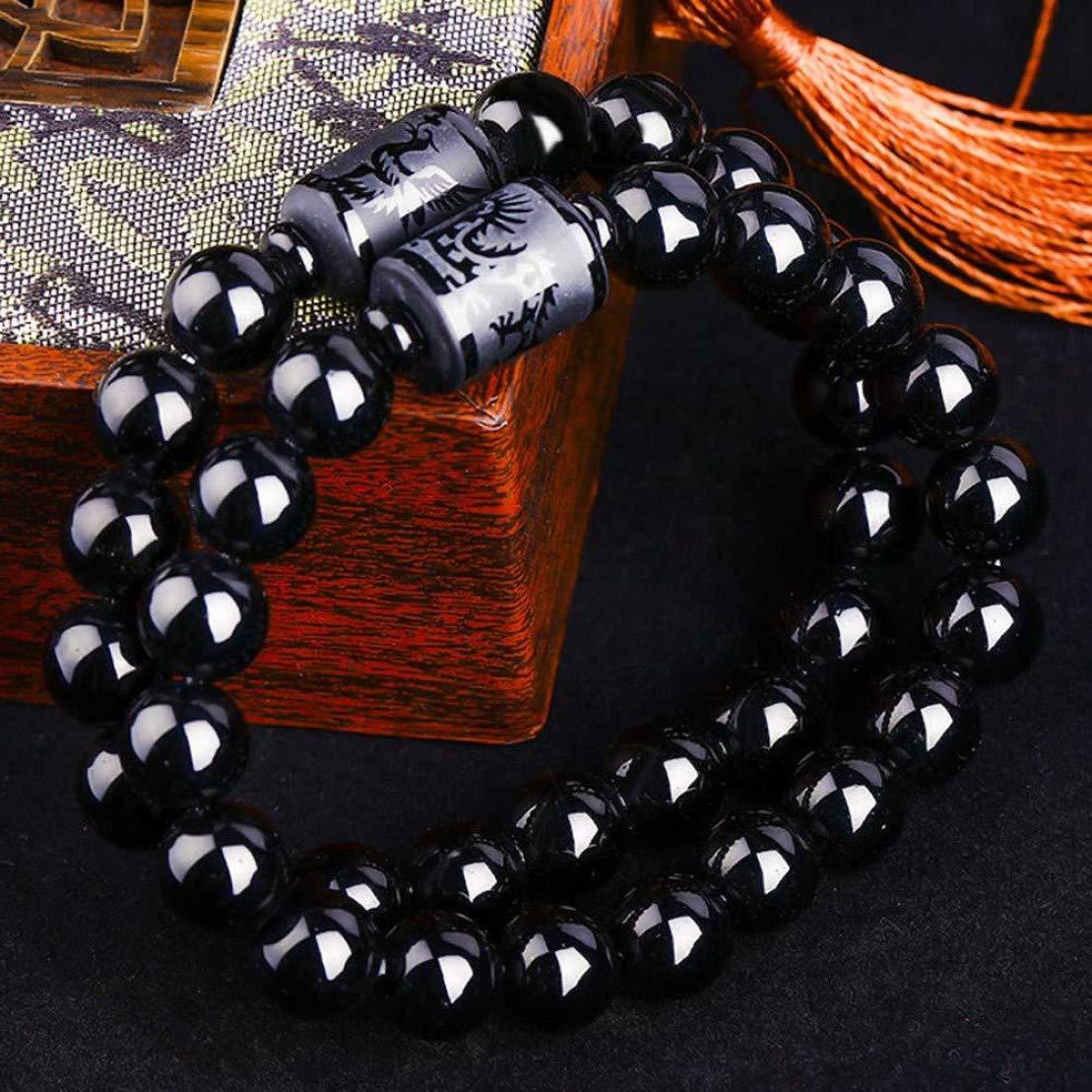 huamaojiancai Trusted Black Obsidian Crystal Dragon Bead Phoenix Strand Bracelet for Men Women Couples Bracelets Lucky Jewelry Gifts