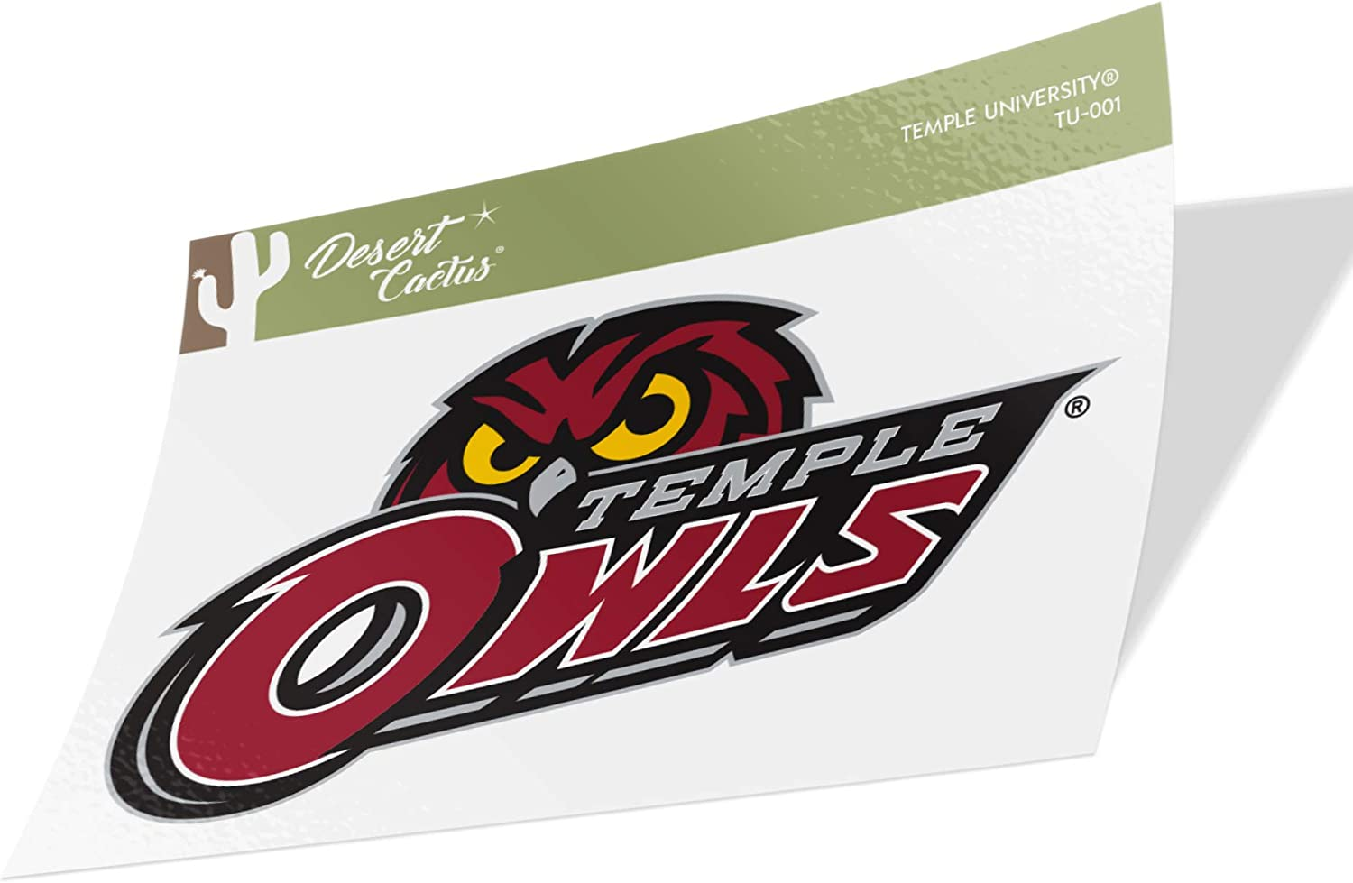 Temple University Owls NCAA Vinyl Decal Laptop Water Bottle Car Scrapbook (Sticker - 001)