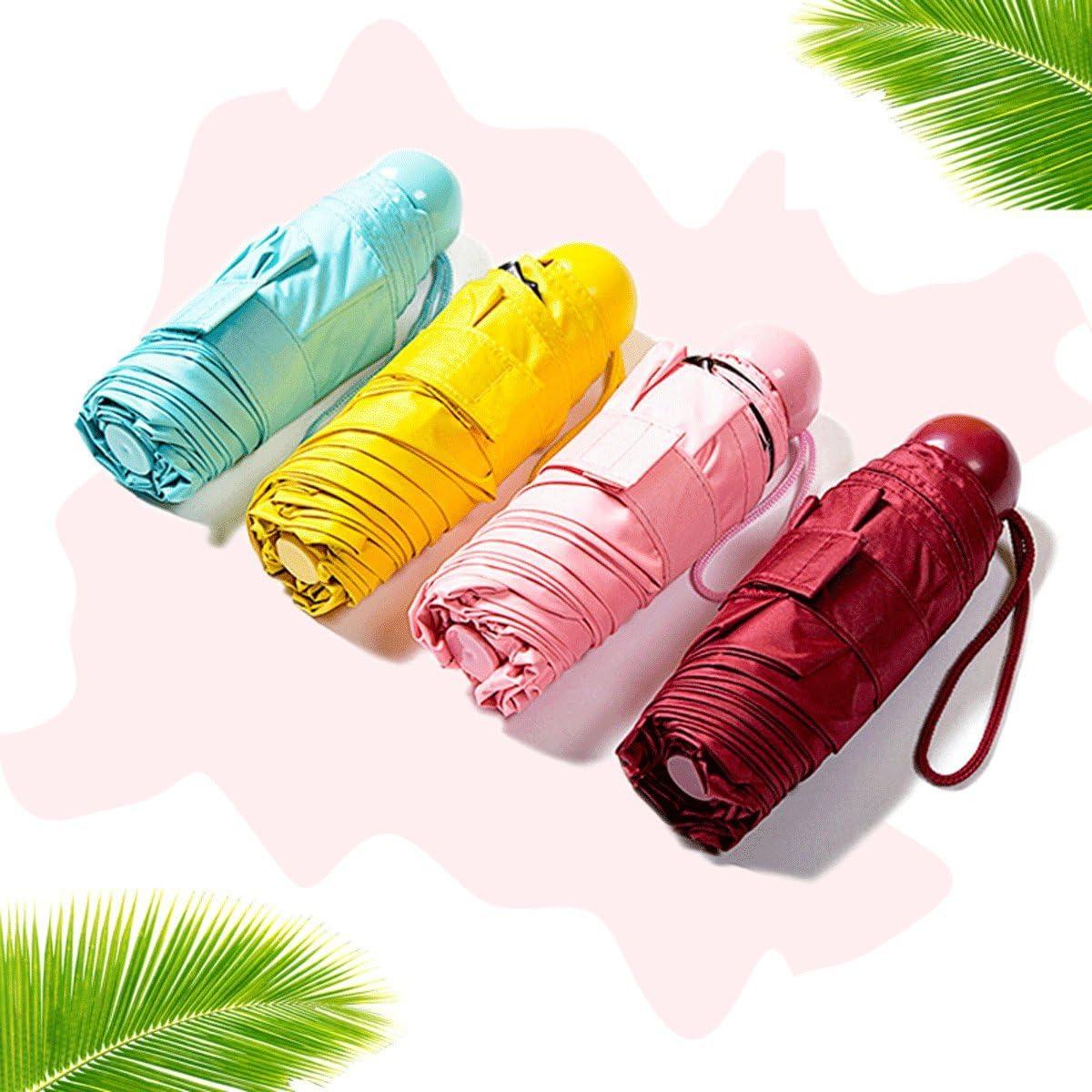 Popowbe Mini Travel sun/&rain Umbrella Light Compact Parasol
