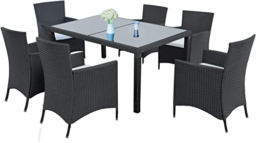 LZ LEISURE ZONE 7-Piece Outdoor Wicker Dining Set