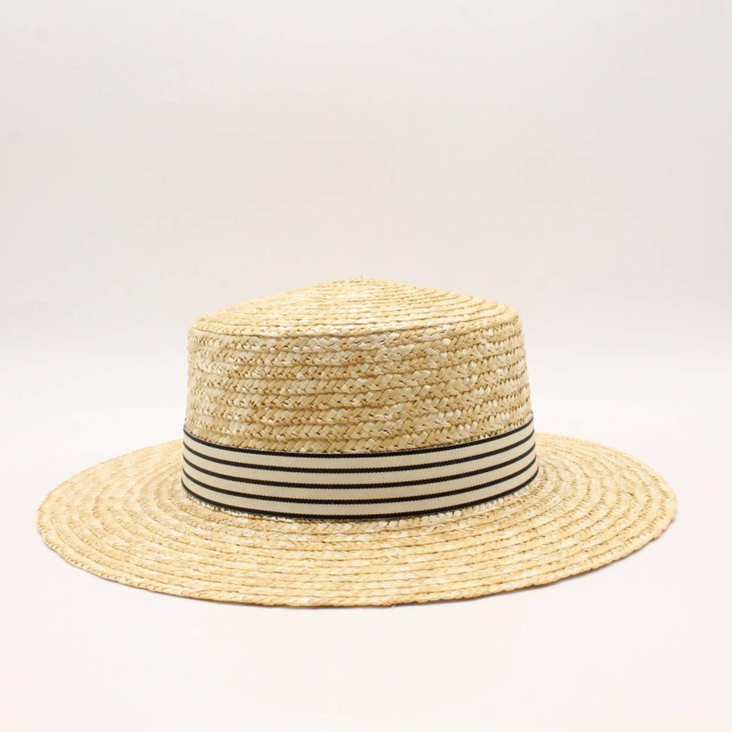 2019 Women Natural Wheat Hat Tie 10Cm Boater Hat Derby Beach Sun Hat Cap Lady Summer Wide Uv Protect Hats