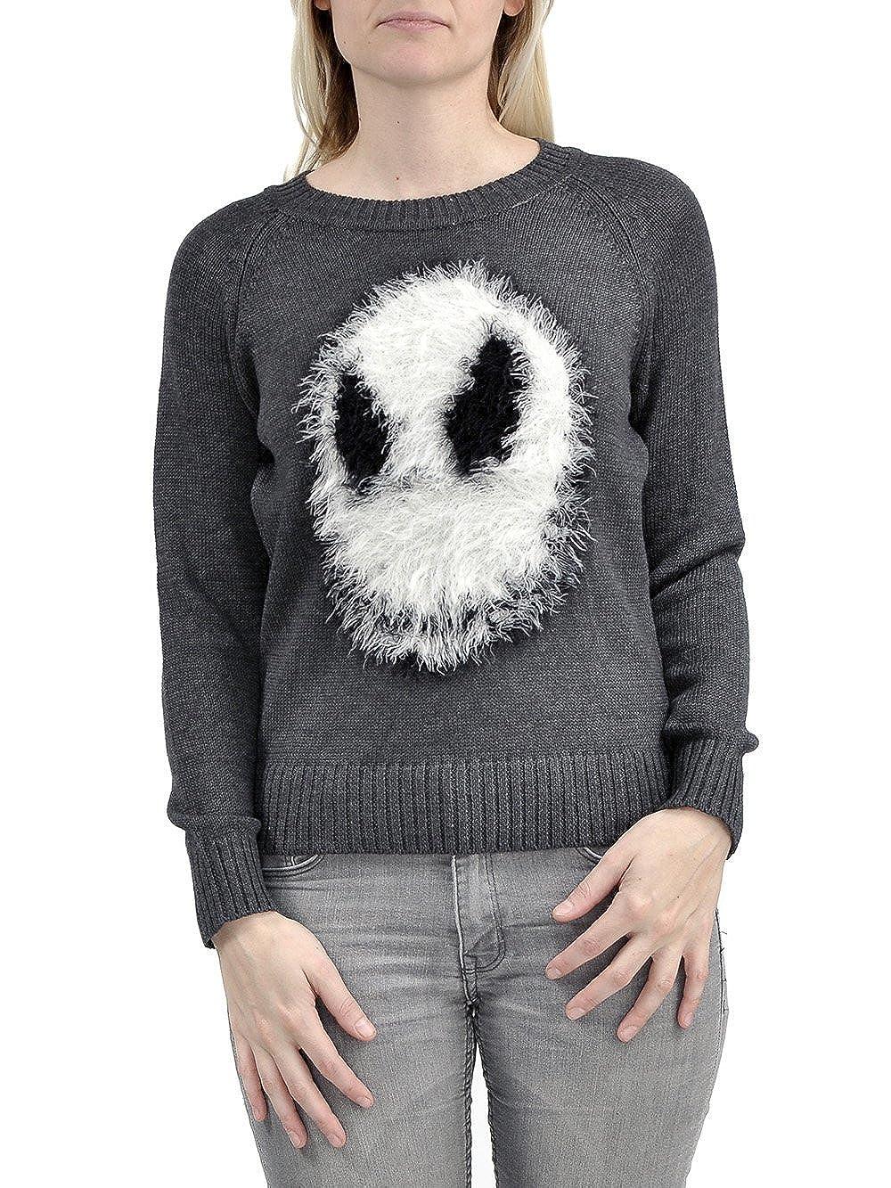 Nightmare Before Christmas Fuzzy Jack Skellington Junior's Knit Sweater, Medium Kryptonite