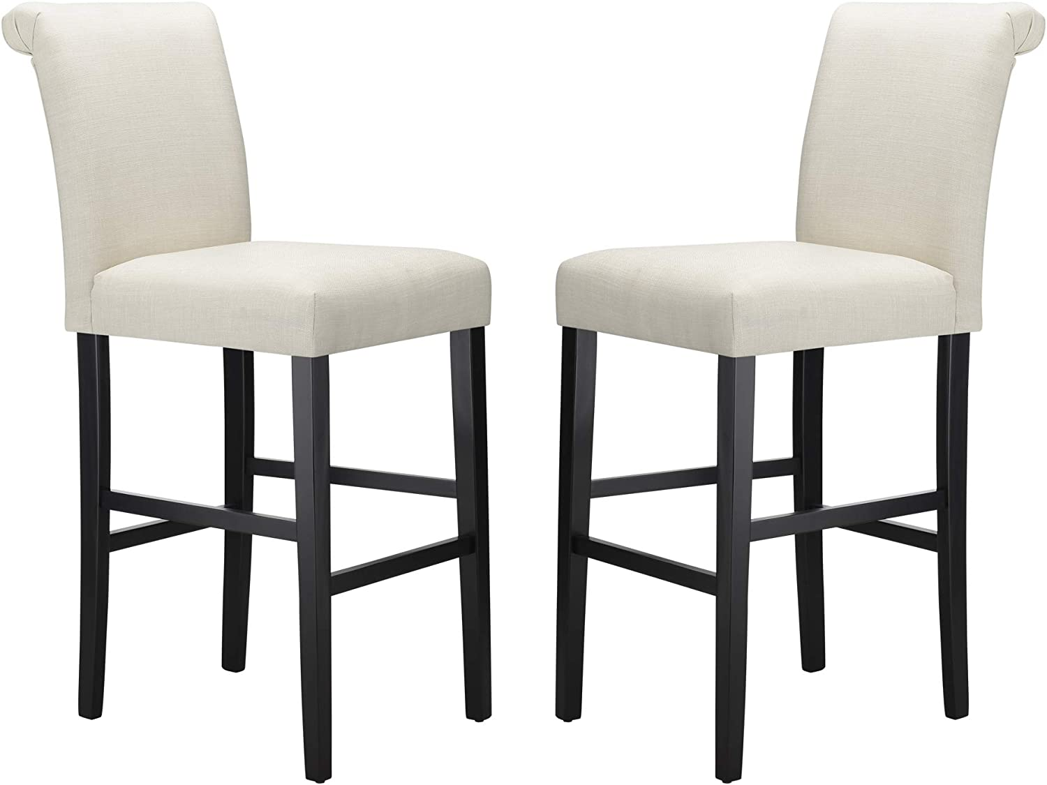 Amazon Brand – Ravenna Home Modern Bar Stool with Back, 44.25 Inch Height, White, Set of 2