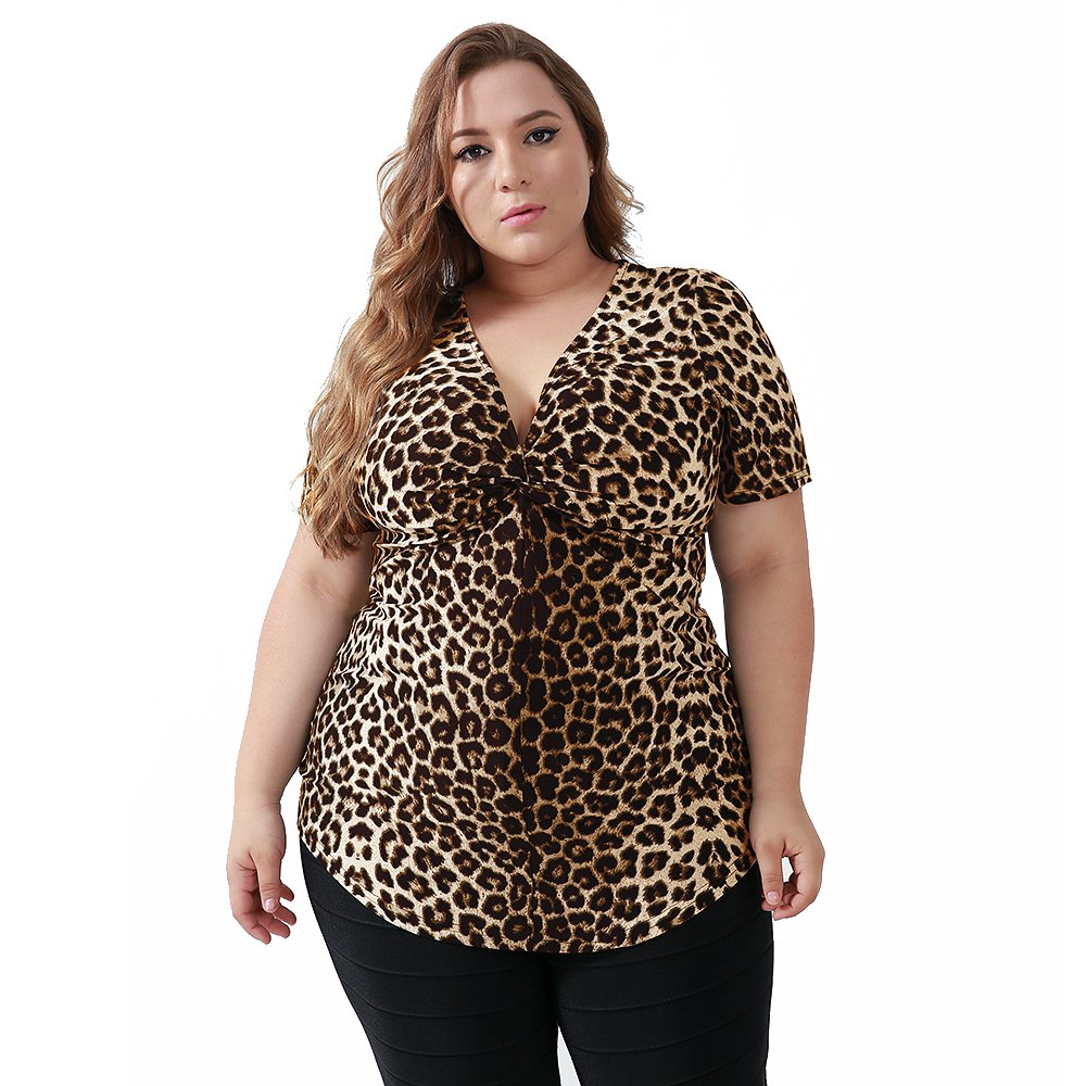 74b056d7441161 Yitonglian Women's Plus Size Leopard V-Neck Tops Twist Knot Front Short  Sleeve Fitting Shirt at Amazon Women's Clothing store:
