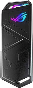 ASUS ROG STRIX Arion Aluminum Alloy M.2 NVMe SSD External Portable Enclosure Case Adapter, USB 3.2 Gen 2 Type-C (10 Gbps), USB-C to C and USB-C to A Cables, Fits PCIe 2280/2260/2242/2230 M Key/B+M Key