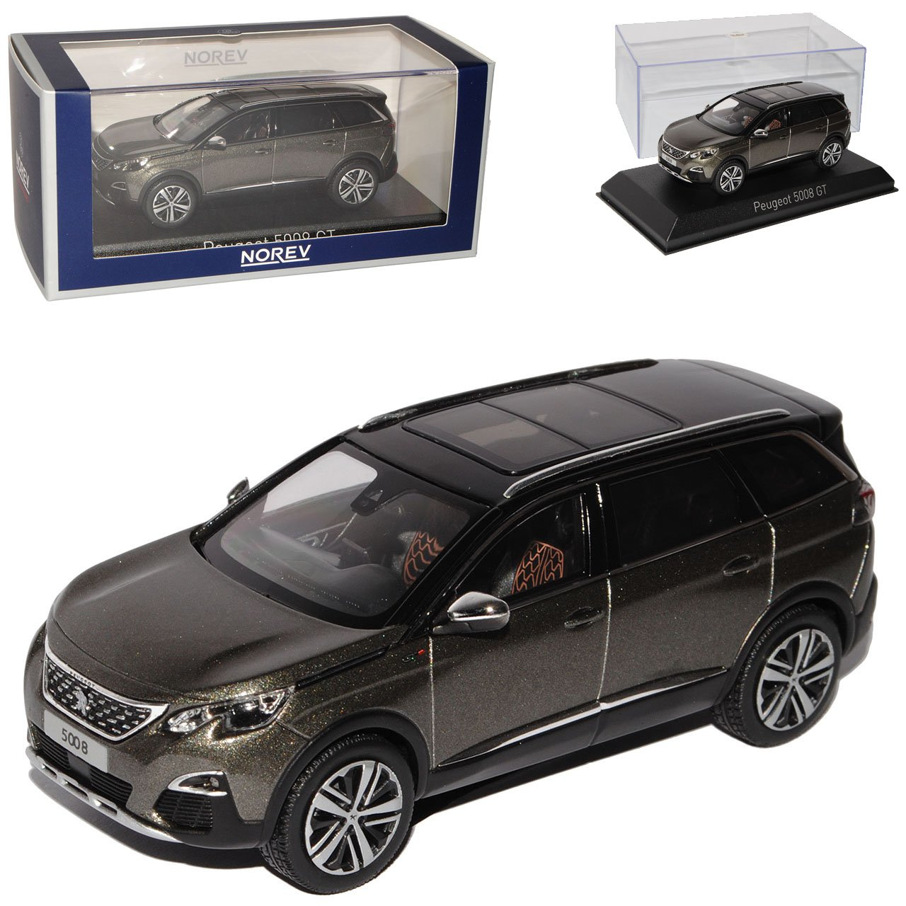 Norev Peugeot 5008 GT SUV Amazonite Grau Schwarz 2. Generation Ab 2016 1/43 Modell Auto mit individiuellem Wunschkennzeichen