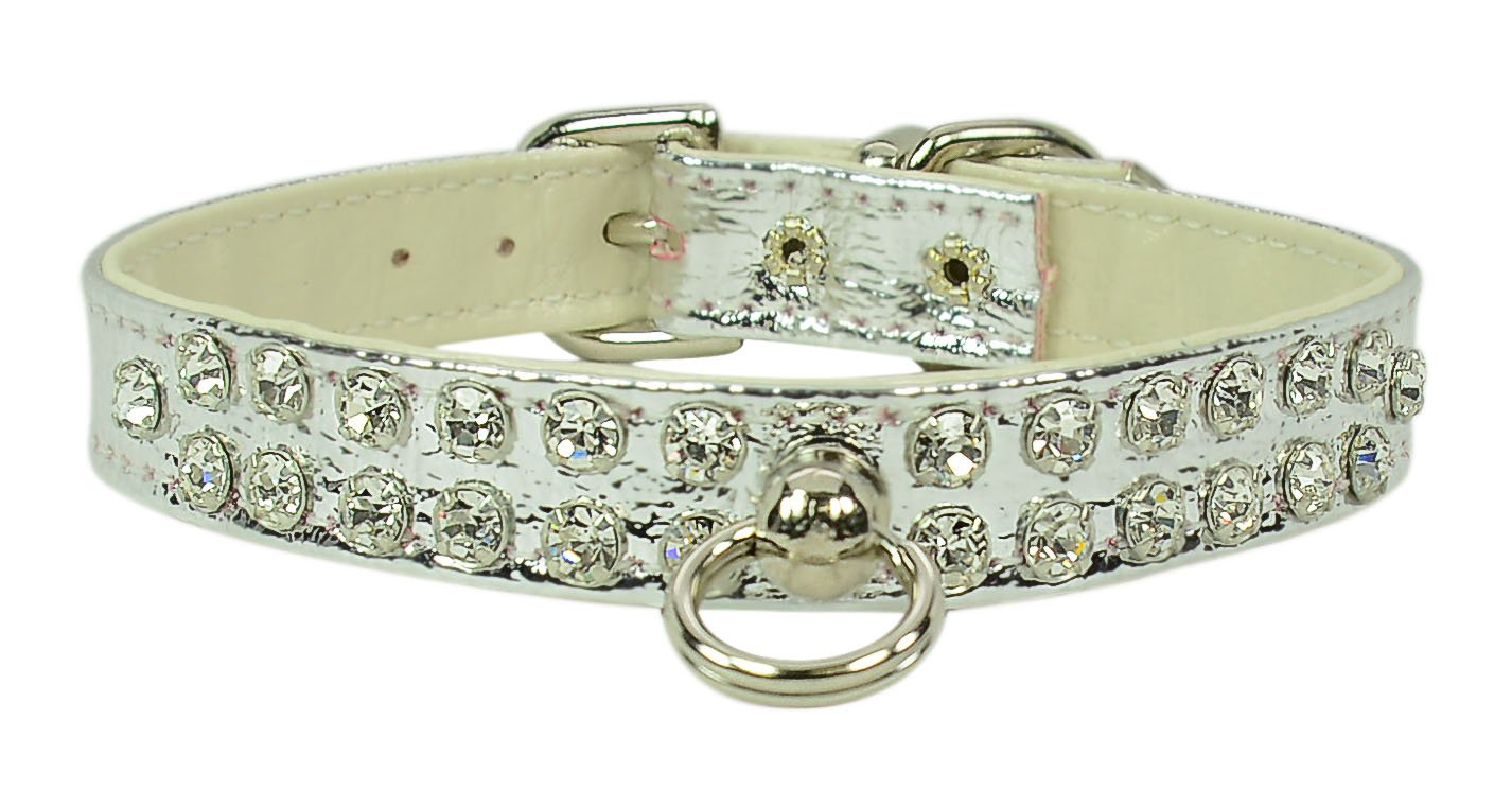 Evans Collars 1 2  Jeweled Collar, Size 12, Vinyl, Silver