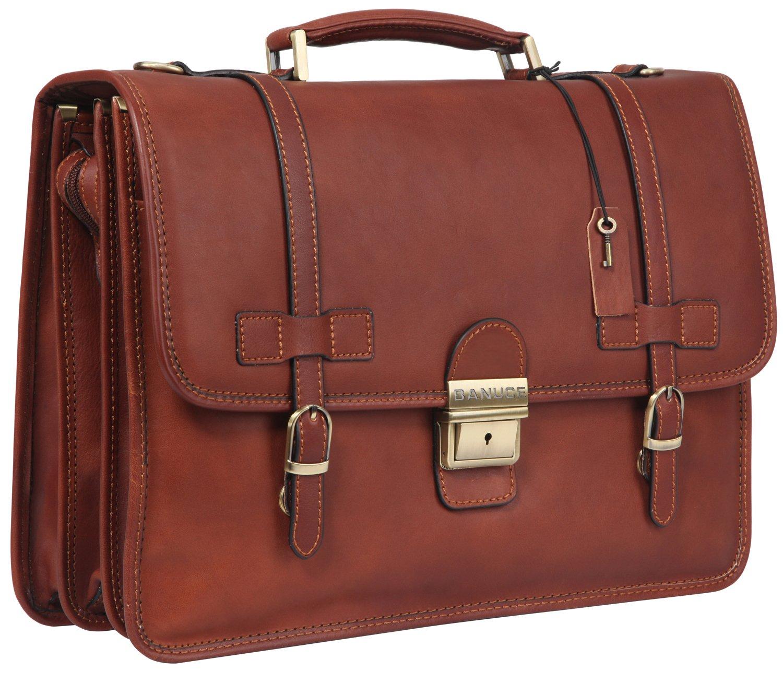 Banuce Vintage Full Grain Italian Leather Briefcase for Men Business Lock Lawyer Attache Case 14'' Tote Laptop Messenger Bag