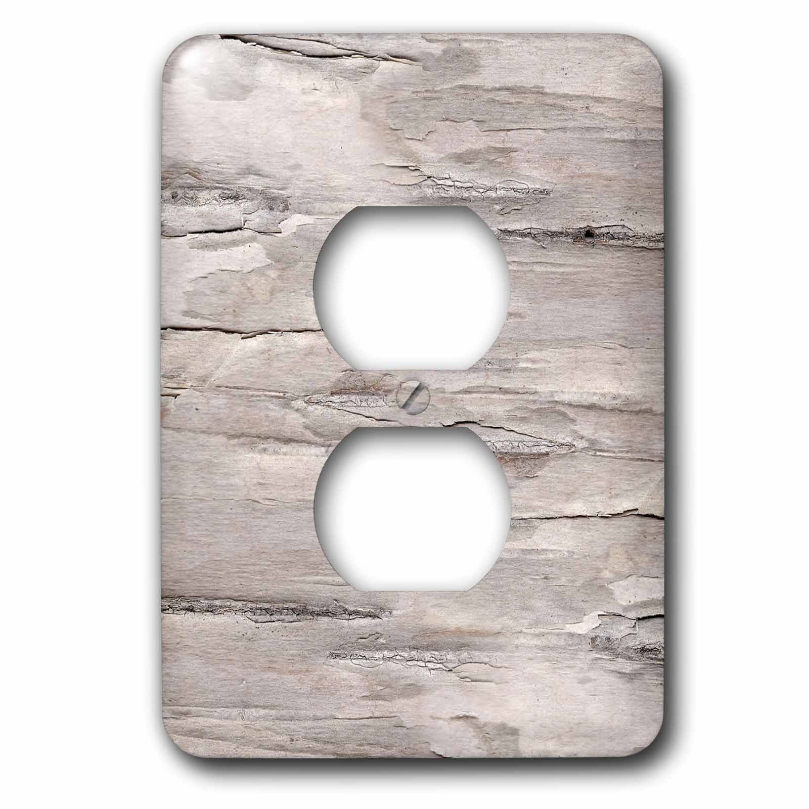 3dRose Anne Marie Baugh - Textures - White Distressed and Weathered Faux Printed Birch Wood Effect - Light Switch Covers - 2 plug outlet cover (lsp_283339_6)