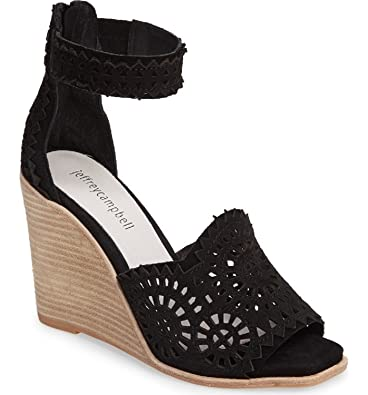 Jeffrey Campbell Womens DelSol Leather Open Toe Special Black Size 75