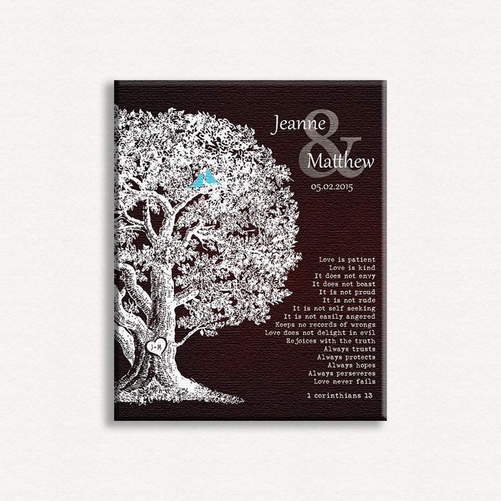 9620a8dd897 Personalized Gift Family Tree Anniversary Plaque 1 Corinthians 13 Carved  Initials Love is Patient Oak Tree Brown Background - 8x10 Unframed Paper  Art Print