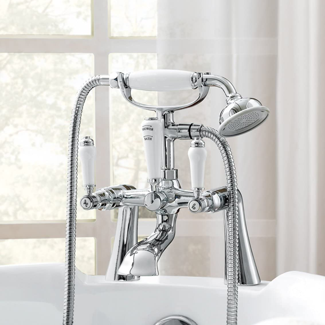 iBathUK | Traditional Bath Filler Mixer Tap Vintage Bathroom Hand Held Shower Head TB131