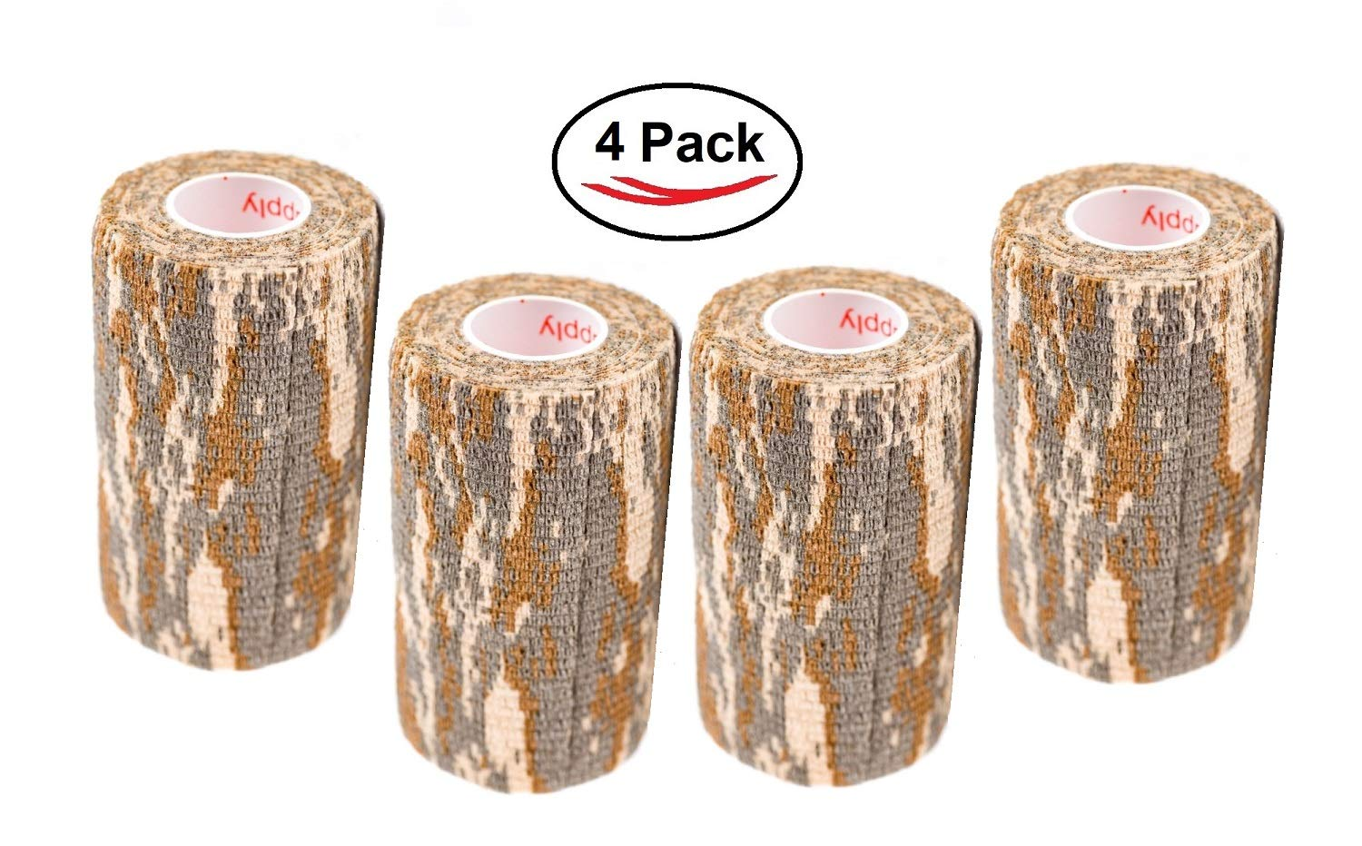 Vet Wrap Tape Self Adhesive Cohesive Bandage, FDA Approved, Camo Camouflage Colors Dog Cat Horse Self Stick Adherent Bandaging Tape 3 inch x 5 Yards 2, 4, 6, 12 or 24 Pack by Prairie Horse Supply
