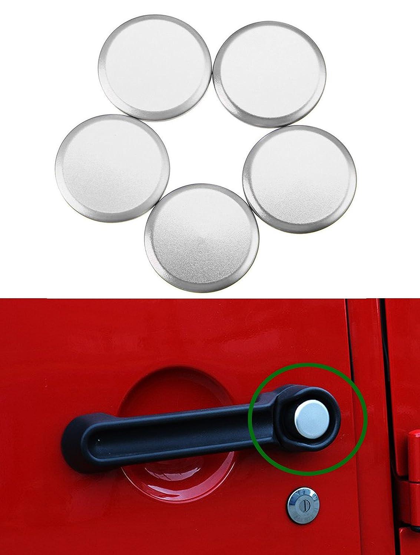 Exterior Aluminum Door Handle Push Button Cover Trim for 2007-2017 Jeep Wrangler JK 2 Door