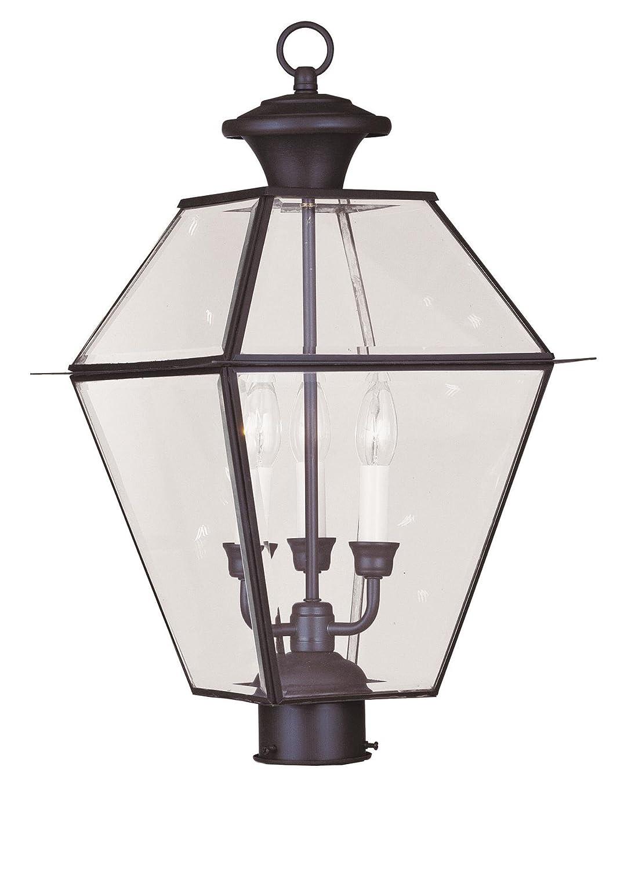 Livex Lighting 2384-07 Westover 3-Light Outdoor Post Head, Bronze