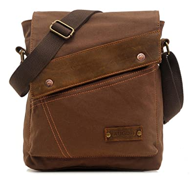 bb898342b3 Amazon.com  Vere Gloria Men Women Small Canvas Messenger Bag Crossbody  Shoulder Handbags Ipad Laptop Bag for School Travel Hiking and Everyday Use  (Brown)  ...